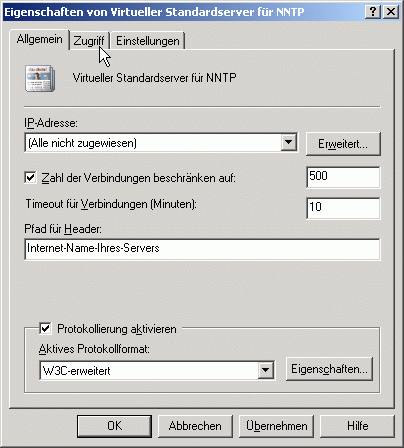 Registerkarte Allgemein Virtueller NNTP-Server - Konfigurationsparameter