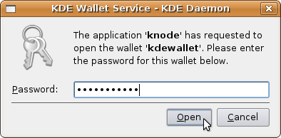 Enter KWallet password
