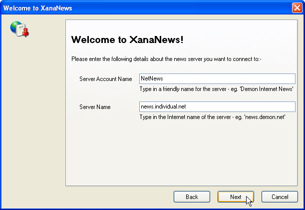 Welcome to XanaNews - Enter account and server name