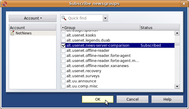 Select from list of newsgroups