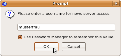 Prompt for username