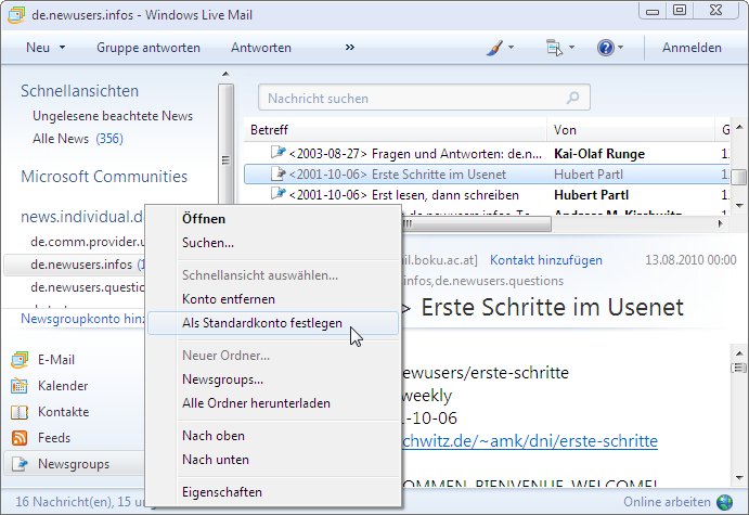 Windows Live Mail - Export and Import Email Accounts